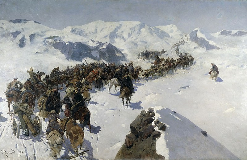 Переход князя Аргутинского через Кавказский хребет 1892 Холст масло. Franz Roubaix