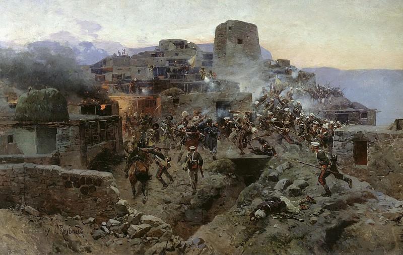 Штурм аула Гимры 1891 Холст масло. Franz Roubaix