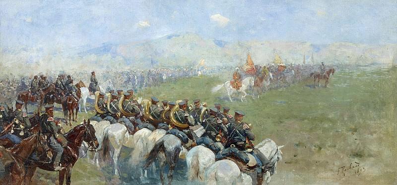 Смотр войск Александром III 1893 Холст масло. Franz Roubaix