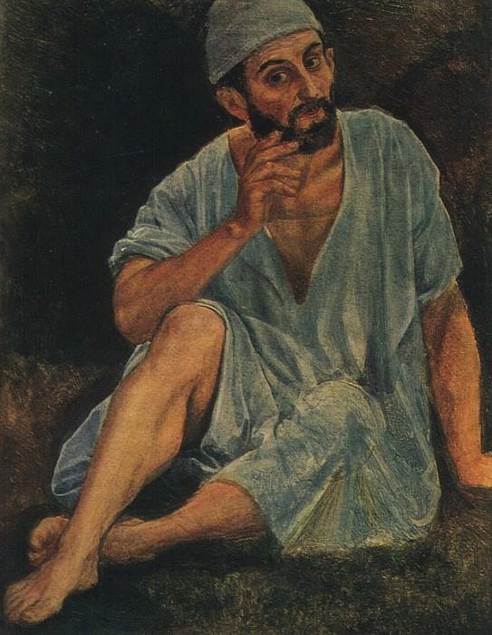 Фигура прислушивающегося, сидящего на земле. Этюд для картины Явление Христа народу. 1830- 1840-е. Alexander Ivanov