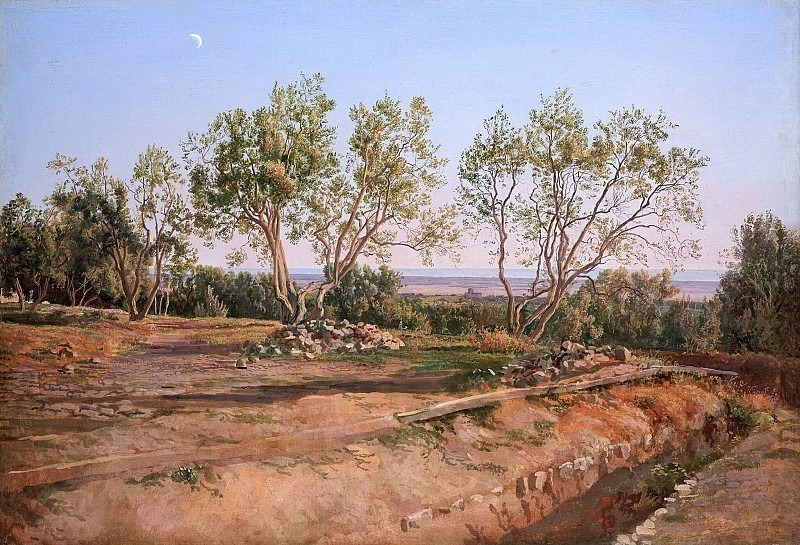 Olives at the cemetery in Albano. Young month. Alexander Ivanov