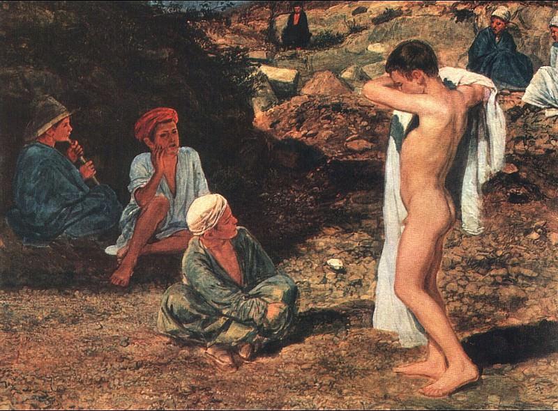 Семь мальчиков в цветных одеждах и драпировках. 1840-е. Alexander Ivanov