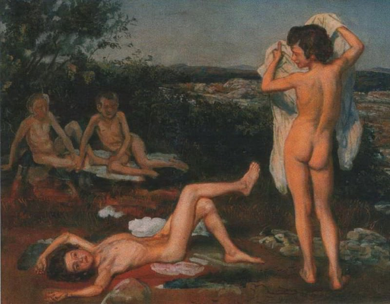 Four Naked Boys, study for «The Appearance of Christ before the People». Alexander Ivanov