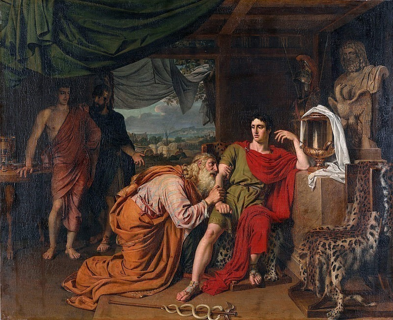 King Priam begging Achilles for the return of Hectors body. Alexander Ivanov