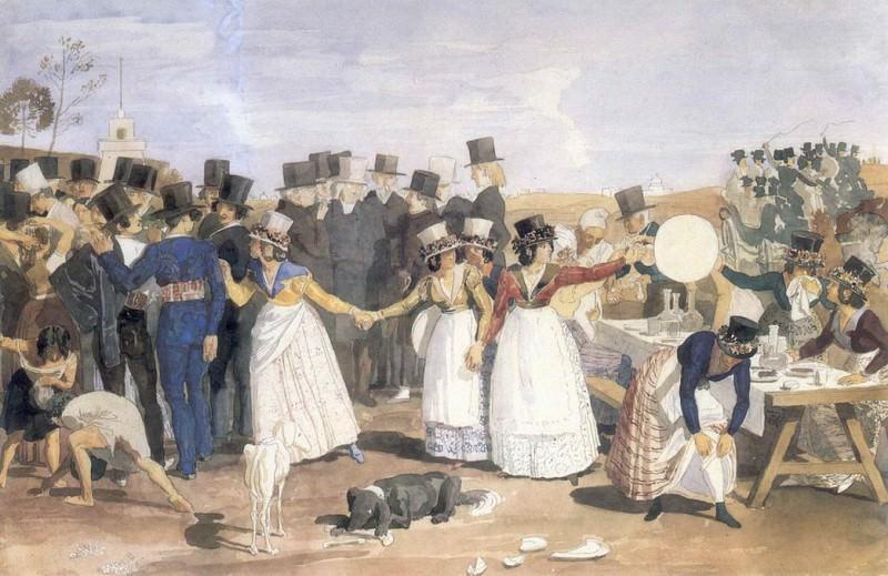 Октябрьский праздник в Риме у Понте Молле. 1842. Alexander Ivanov