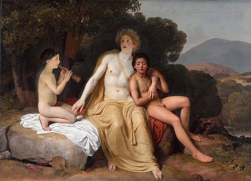 Apollo, Hyacinth and Cypress practicing music and singing. Alexander Ivanov