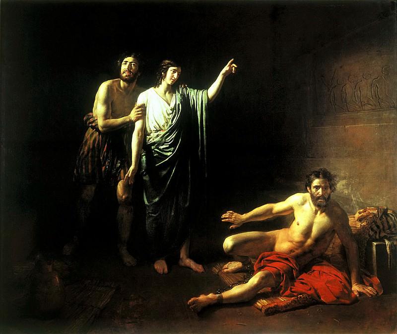 Иосиф, толкующий сны заключённым с ним в темнице виночерпию и хлебодару. 1827. Alexander Ivanov