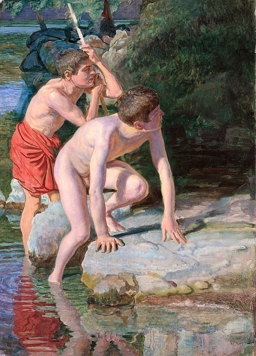 Two boys against the backdrop of the landscape, in the poses of a boy emerging from the water, and an old man leaning on a stick. Alexander Ivanov