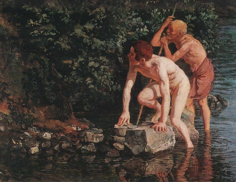 Старик и мальчик, выходящие из воды. 1840-е. Alexander Ivanov