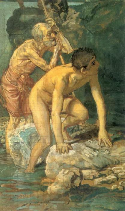 Старик. опирающийся на палку, и мальчик, выходящий из воды. 1840-е. Alexander Ivanov
