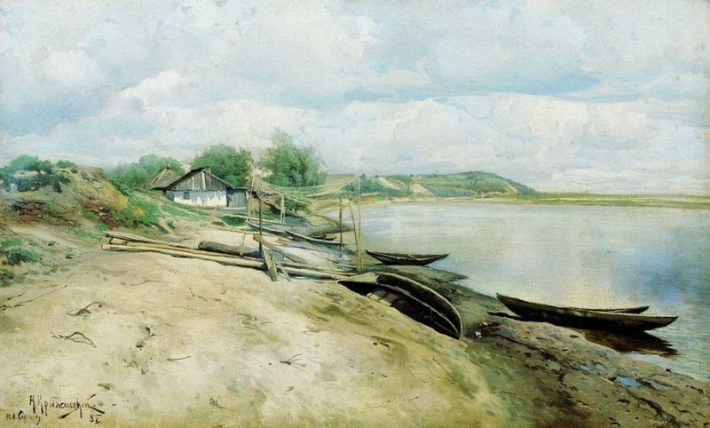 Хутор на Днепре (Рыбачья пристань). 1885. Konstantin Kryzhitsky