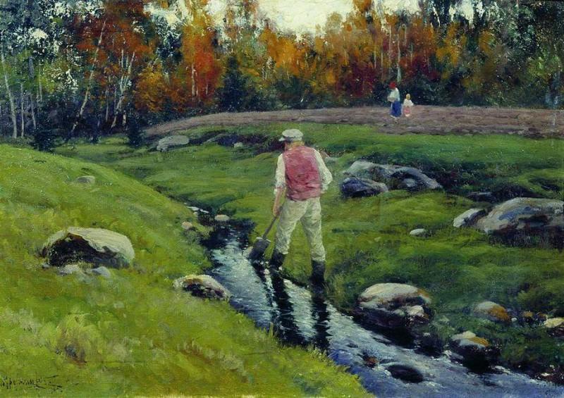Пейзаж с рабочим у реки. 1901. Konstantin Kryzhitsky
