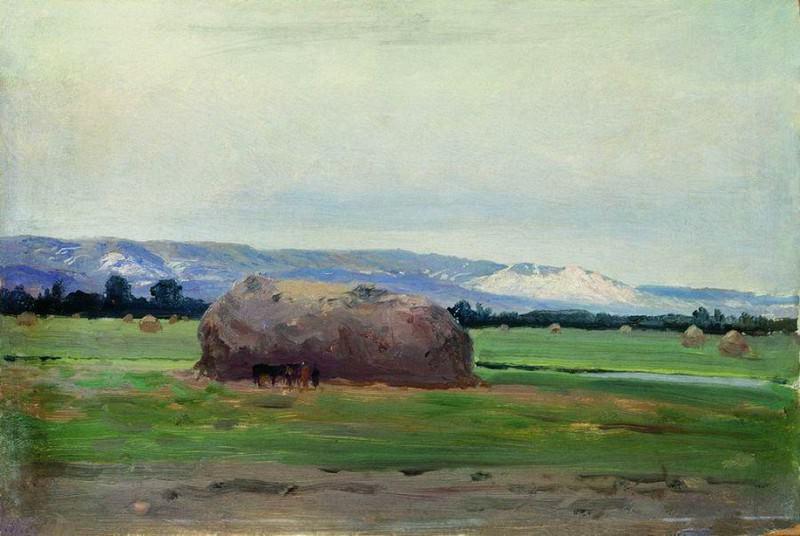 Пейзаж со скирдой сена. 1900. Константин Крыжицкий