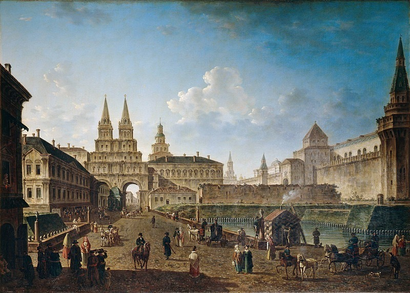 View of the Resurrection and Nikolsky Gate and Neglinny Bridge from Tverskaya Street in Moscow. Fedor Alexeev