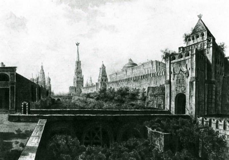 Вид на Московский Кремль со стороны Николаевской башни.1800. Fedor Alexeev