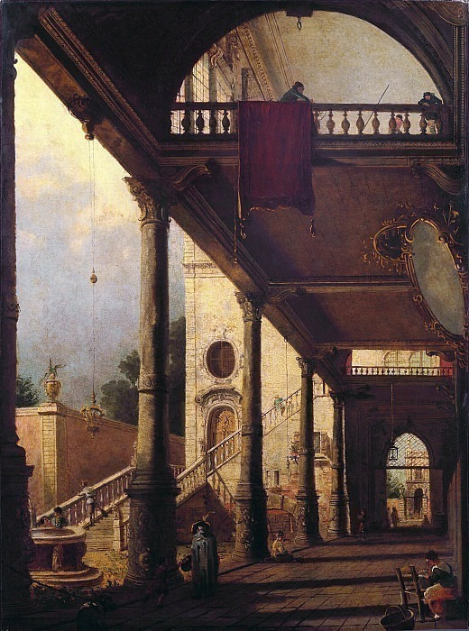 Interior view of the courtyard with a garden. Loggia in Venice. Second half of the 18th century. Fedor Alexeev