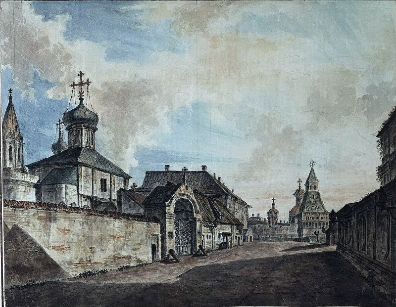 Вид церкви Гребневской Богоматери и Владимирских ворот Китай-города. 1800-е. Fedor Alexeev