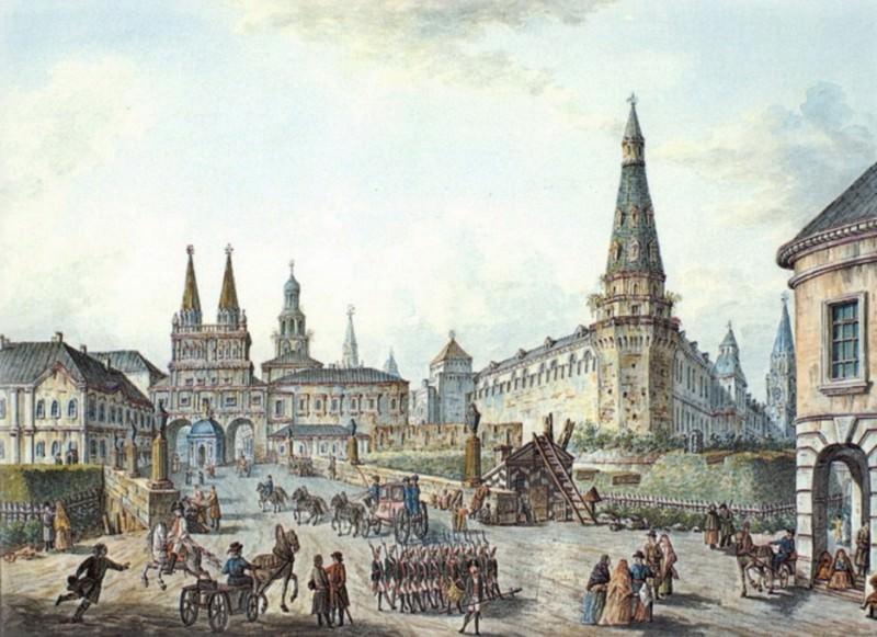 Вид на Воскресенские ворота и Неглинный мост. 1800-е. Федор Яковлевич Алексеев