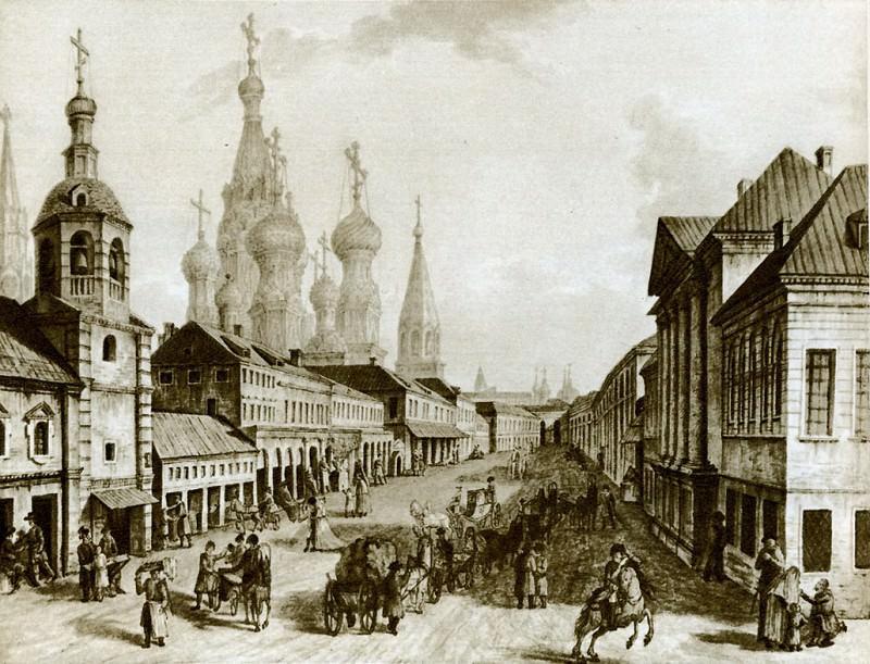Москворецкая улица с людьми. 1800-1802. Fedor Alexeev