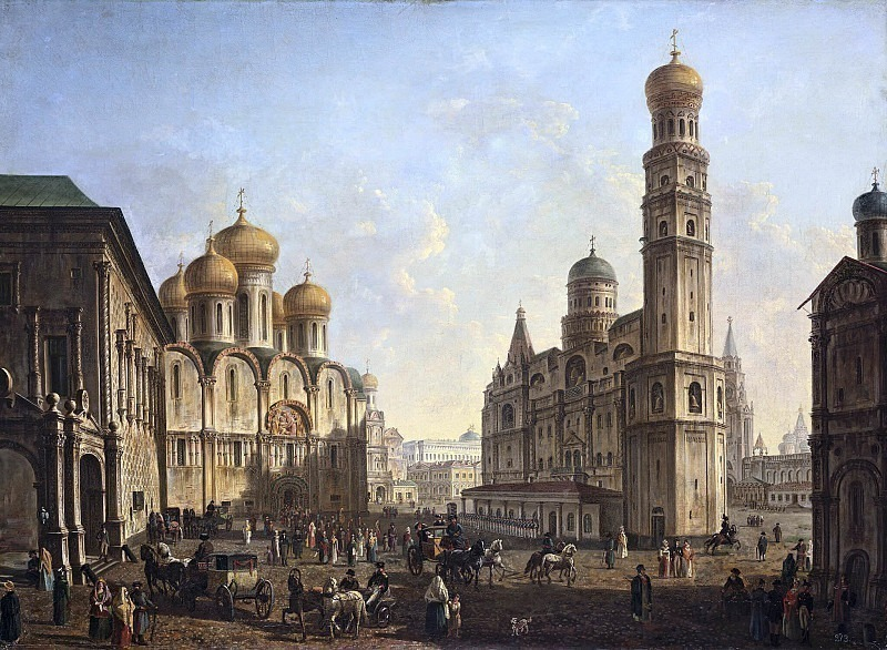 Cathedral Square in the Moscow Kremlin. The beginning of the XIX century. Fedor Alexeev