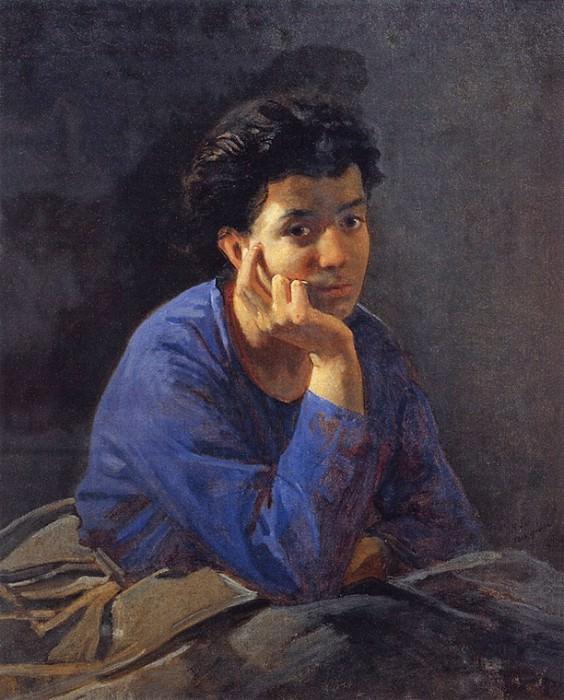 Портрет неизвестной в голубой блузе. 1868. Николай Николаевич Ге