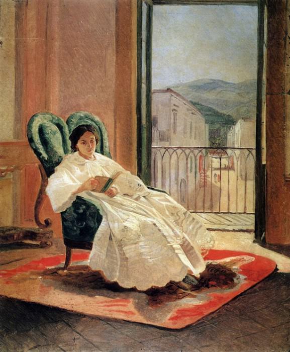 Портрет жены художника А.П.Ге. 1858.. Nikolay Ge