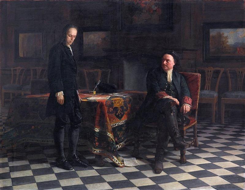 Peter I interrogates Tsarevich Alexei Petrovich in Peterhof. Nikolay Ge