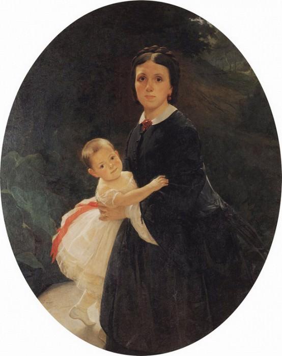 Портрет Шестовой с дочерью. 1859.. Nikolay Ge