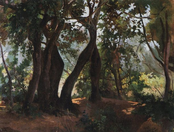 Лесок в Ливорно. 1862.. Nikolay Ge