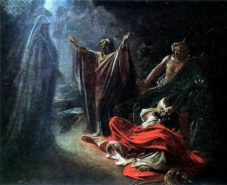 Аэндорская волшебница вызывает тень Самуила. 1856. Nikolay Ge