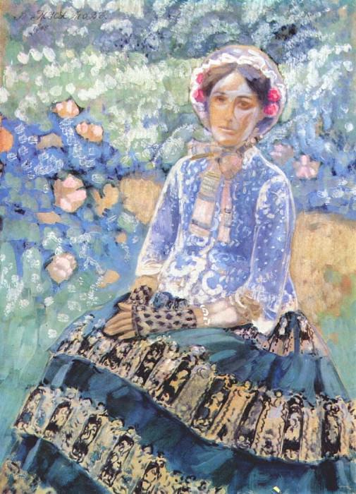 borisov-musatov lady in blue dress 1905. Виктор Борисов-Мусатов