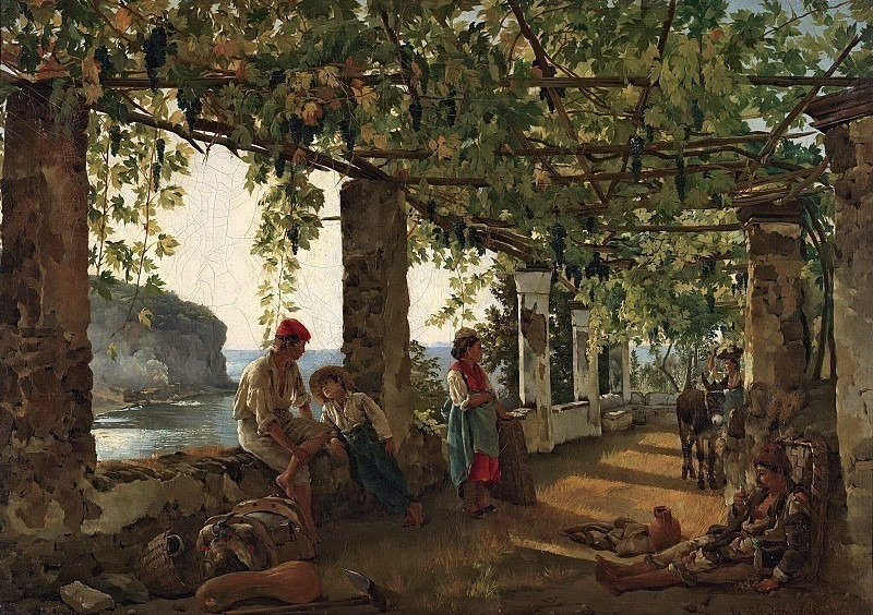 Veranda entwined with grapes. Silvester Shedrin