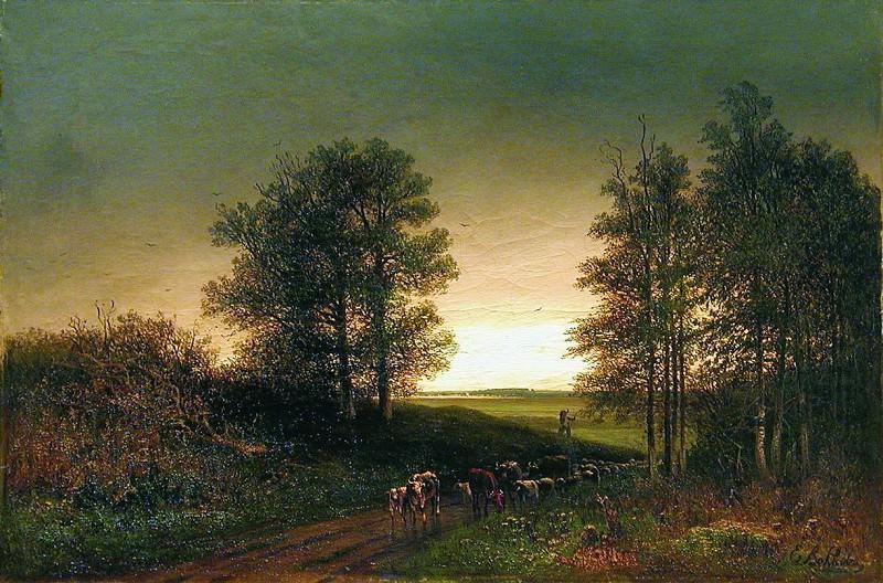 Возвращение стада. 1880-e. Efim Volkov