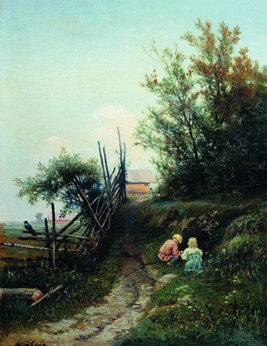 Деревенский пейзаж с детьми. Efim Volkov