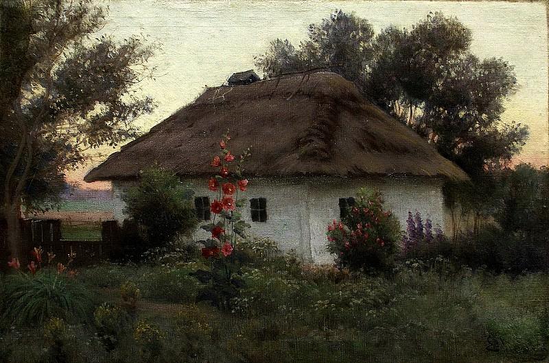 Украинский пейзаж с хатой. 1910. Efim Volkov