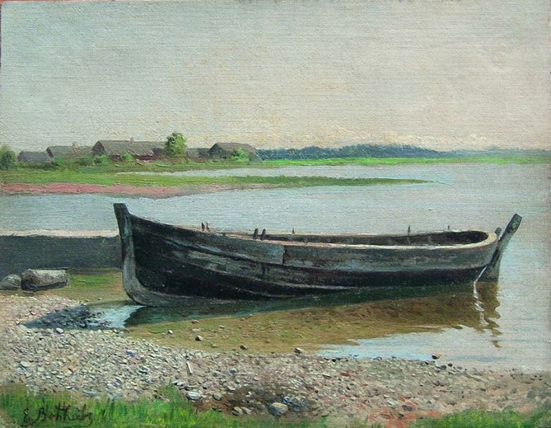 Лодка на реке. 1880-e. Ефим Волков