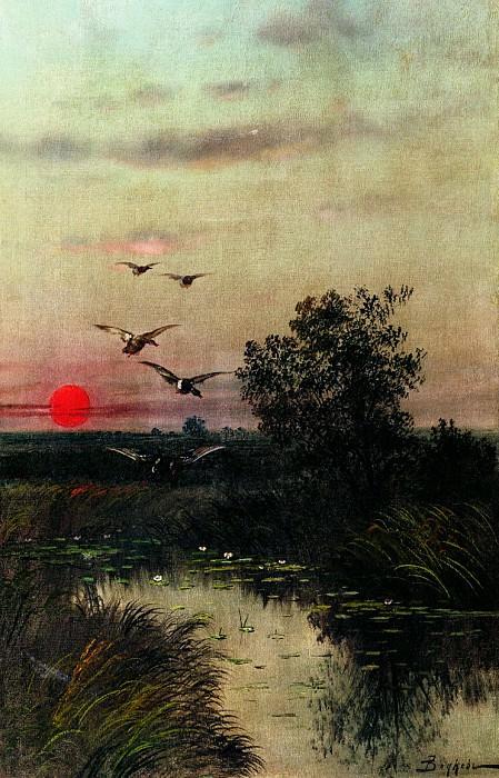 Заход солнца над озером. Ефим Волков