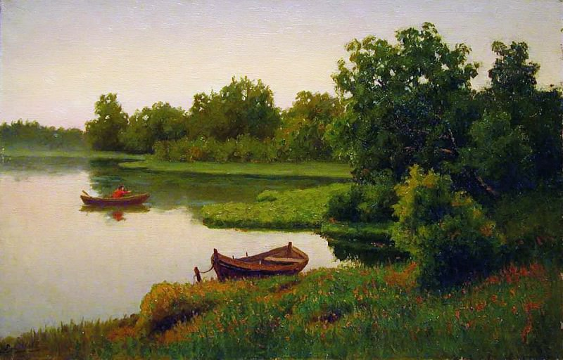 Летний пейзаж с рыбачком. 1890-е. Efim Volkov