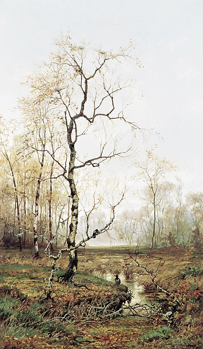 В лесу По весне 1877 Холст масло 89х53 см. Efim Volkov
