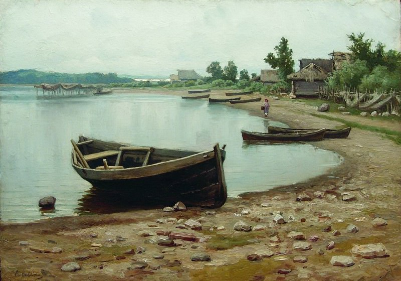 Речной пейзаж с лодками. 1880-e. Ефим Волков