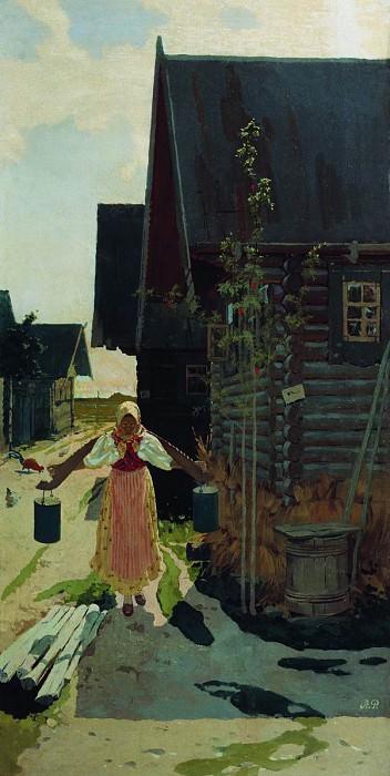 В деревне. Девушка с ведрами. 1898. Andrei Riabushkin