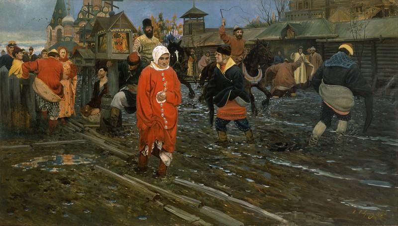 Seventeenth-Century Moscow Street on a Public Holiday. Andrei Riabushkin