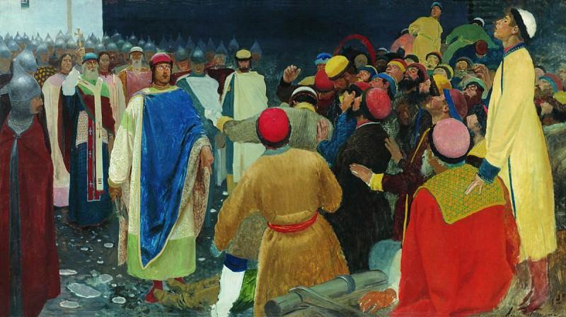 Князь Глеб Святославович убивает волхва на Новгородском вече (Княжий суд). 1898. Andrei Riabushkin