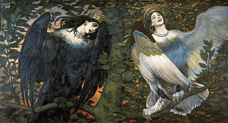Sirin and Alkonost. Song of joy and sadness.. Viktor Vasnetsov