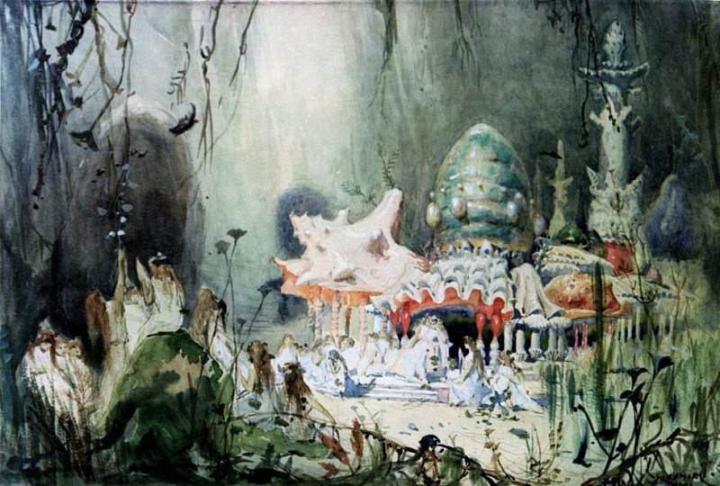 Sketch for the set of the opera Russalka by Aleksandr Sergeyvich Dargomyzhsky (1813-1869). Viktor Vasnetsov