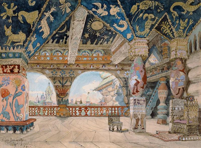 Stage design for Nikolai Rimsky-Korsakovs opera The Snow Maiden. Viktor Vasnetsov