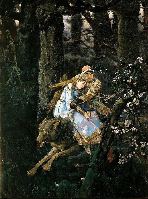 Ivan Tsarevich riding the Grey Wolf. Viktor Vasnetsov