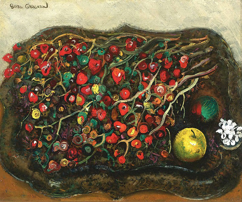 Still life with berries and apples. Boris Grigoriev