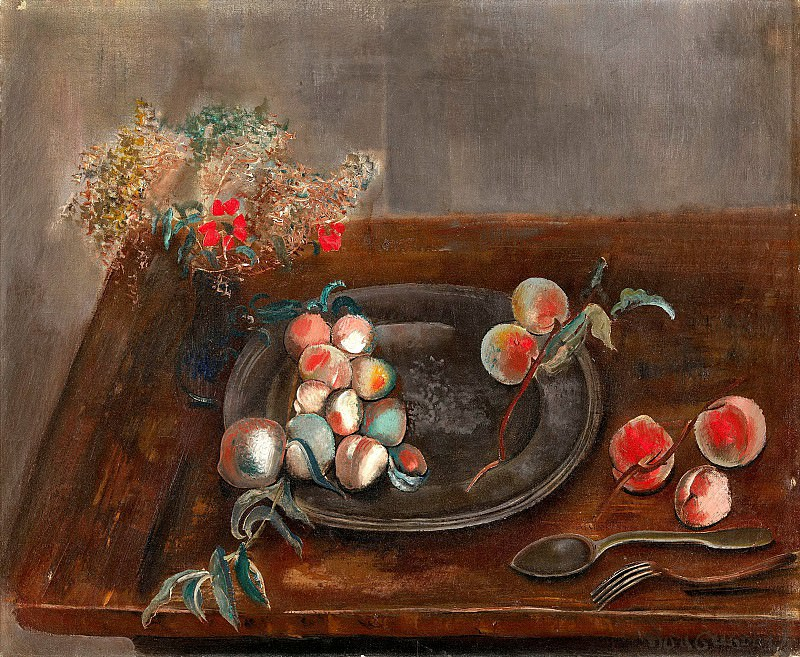 Still life with fruit and flowers on a table. Boris Grigoriev