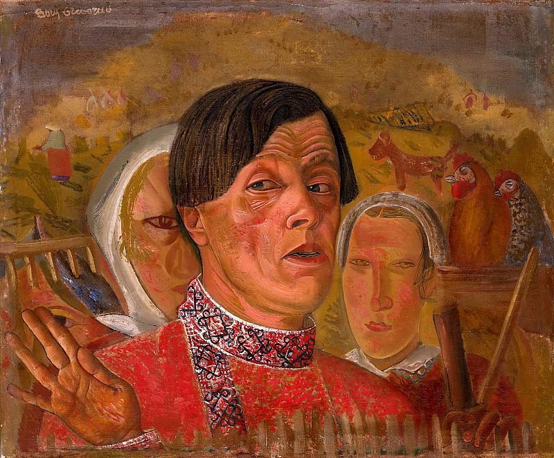 Автопортрет с курицей и петухом. Борис Дмитриевич Григорьев